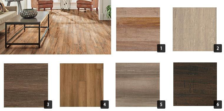 A variety of stained bamboo flooring. photo