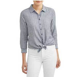 Blue and white striped button-up top photo