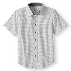 White button-up short-sleeve shirt for boys photo