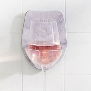 Gray wine glass holder for the shower photo