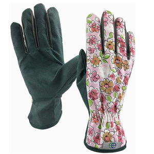 Pink floral garden gloves with grippers photo