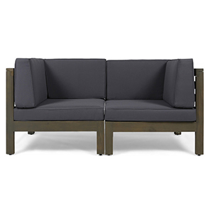 Dark gray two-piece sectional loveseat photo