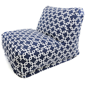 Navy blue and white patterned bean bag lounger photo