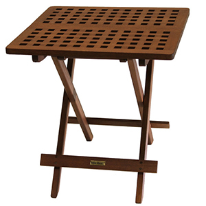 Eucalyptus wood folding side table with grid pattern photo
