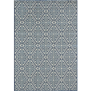 Navy blue and white patterned indoor/outdoor rug photo