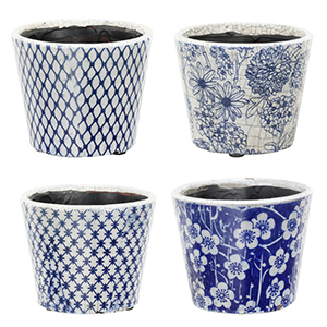 Blue and white patterned terra-cotta planters photo