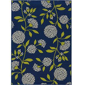 Navy blue, whtie, and green floral-print rug photo