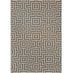 Tan and gray geometric-patterned rug photo
