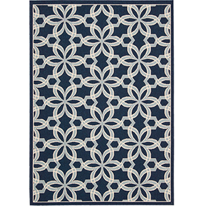 Navy blue and light blue floral rug photo