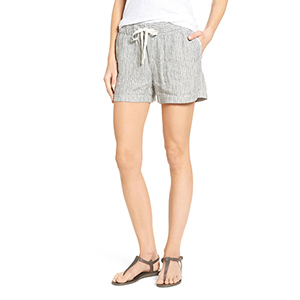 Gray and white striped linen shorts with drawstring photo