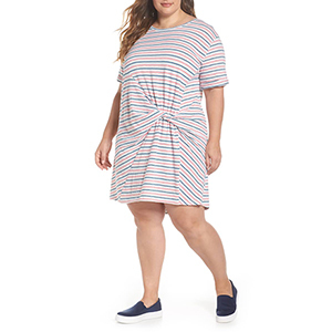 White, pink, and blue knot-front plus-size t-shirt dress photo