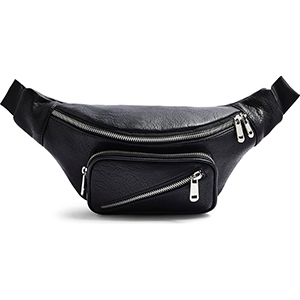 Black faux leather belt bag with silver detailing photo