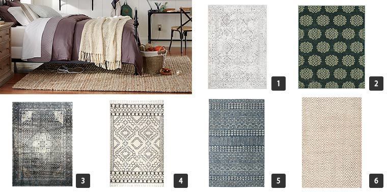 Six different area rugs including printed and shag. photo