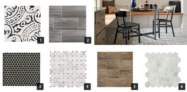 Basketweave, mosaic, porcelain, and ceramic tile options for your home. photo