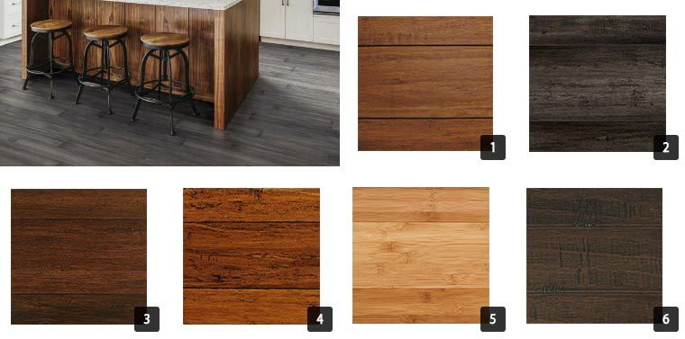 Six different bamboo flooring from light wood to dark wood. photo