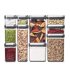 Clear meal container set with silver lids. photo