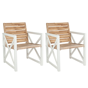 Wooden outdoor accent chairs with a natural wood coloring seat and white arm rests photo