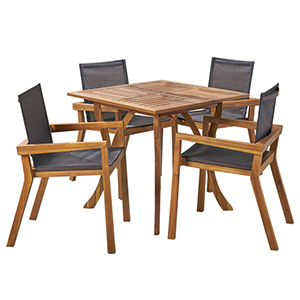 5-Set outdoor dining set with mesh black seating photo