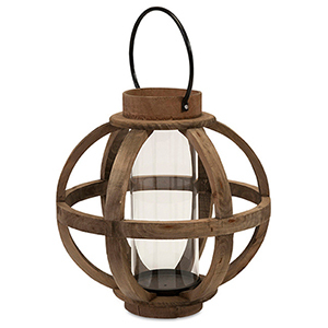 Farmhouse wooden lantern with a handle photo