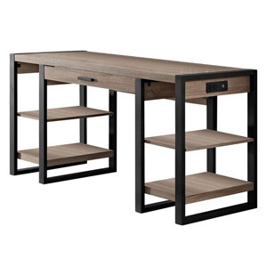 Computer desk with built-in outlets and open shelves photo