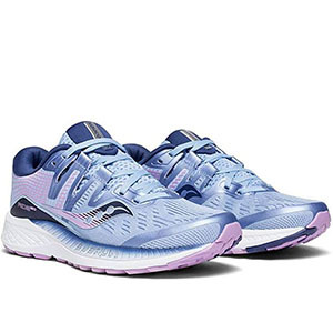 Blue and purple running shoes with white soles photo