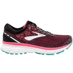Black and pink running shoe with turquoise and white soles photo