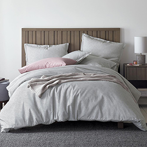White and gray geometric printed duvet cover photo