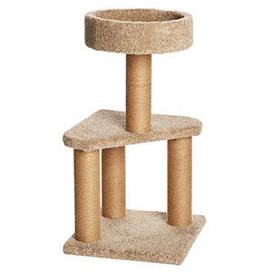 Beige cat tower with scratching posts photo