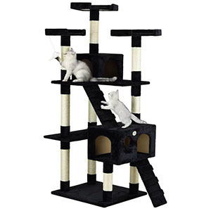 Big cat tower with two cats playing photo