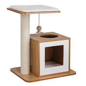 Small wooden cat tower with white accents photo
