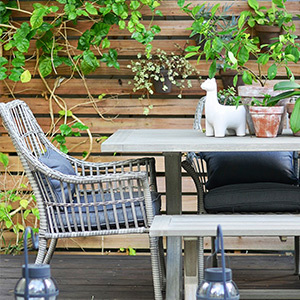 Gray outdoor chair and table photo