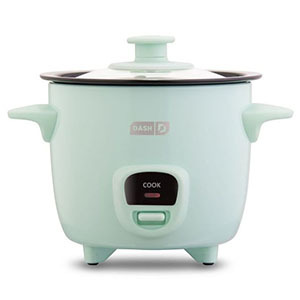Mint colored rice cooker with a handle on each side photo