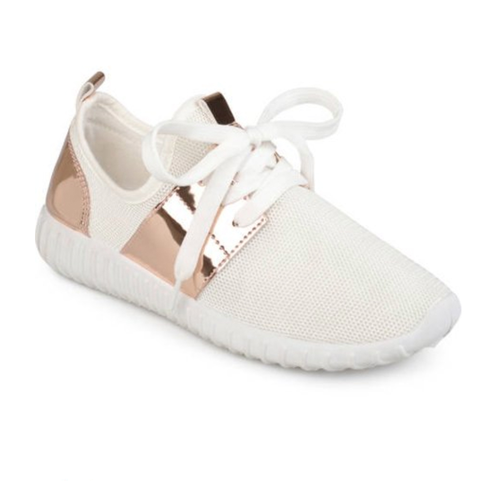 Brinley Co. Women's Metallic Fabric Lightweight Breathable Sneakers photo