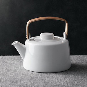 Crate & Barrel Teapot with Wooden Handle photo