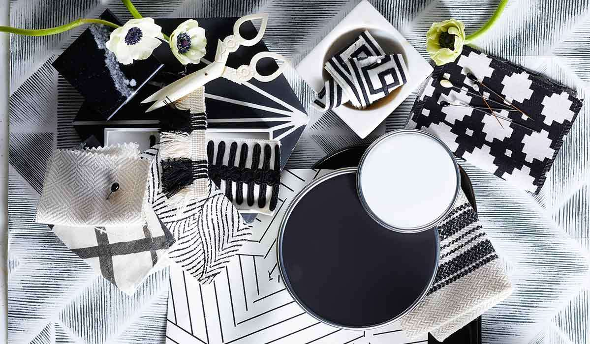 Black and white home goods including fabric swatches and paint photo