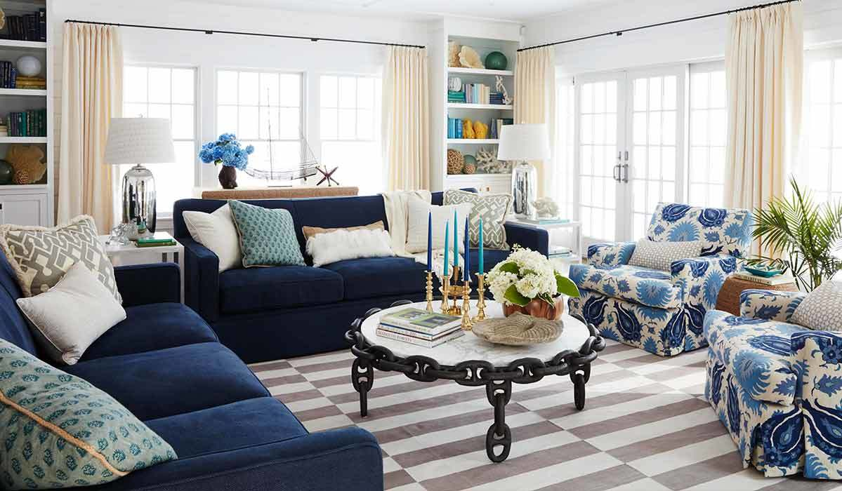 White and blue living room photo
