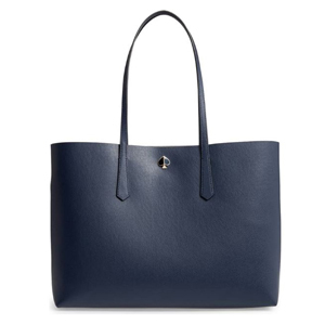 Navy blue leather tote bag by Kate Spade photo