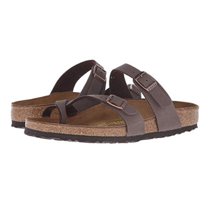Brown Birkenstock sandals with a strappy design photo