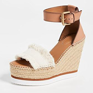 Wedge sandals featuring a neutral color palette photo