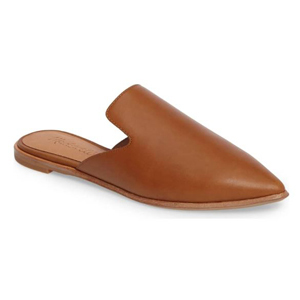 Brown leather mules photo