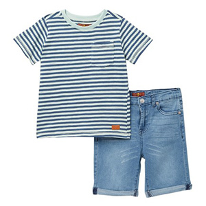 7 For All Mankind Stripe Shirt and Jean Short Set photo