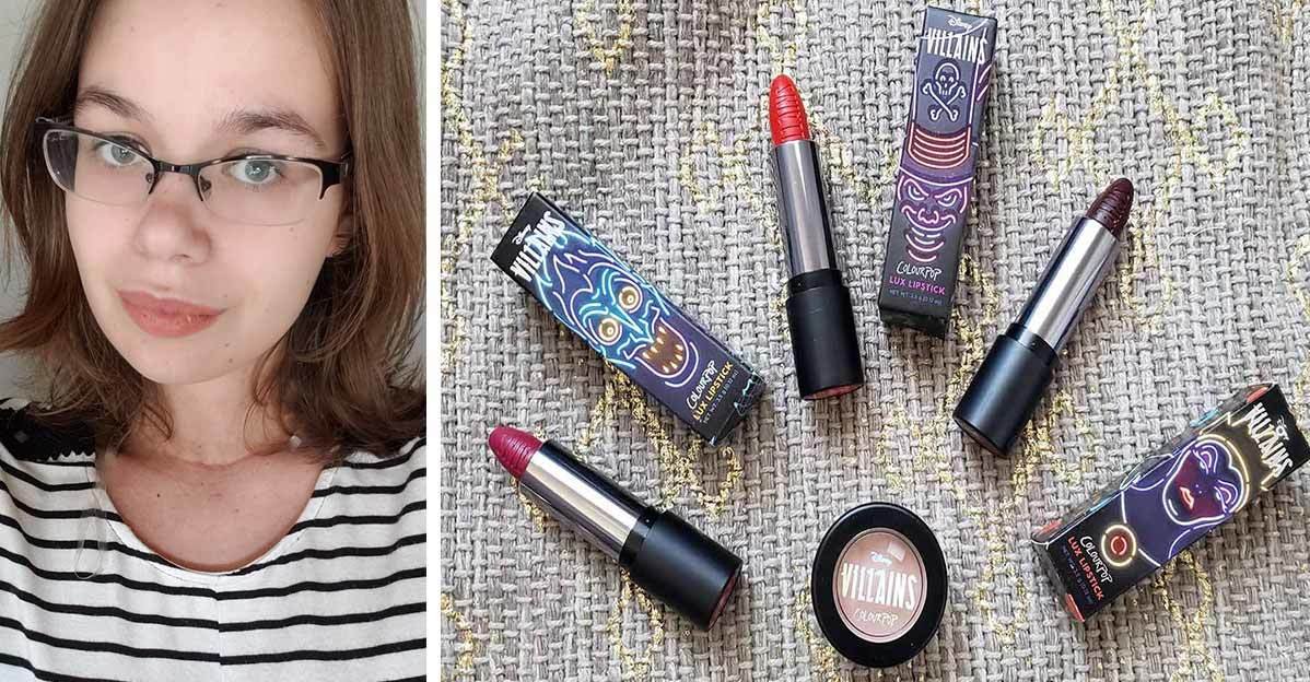 Woman wearing Disney Colourpop Collection lipstick in Hades shade alongside other lipsticks and highlighter from the Villains line photo