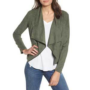 Faux suede jacket in olive photo