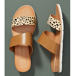 Light brown and cheetah print Dolce Vita slide sandals photo