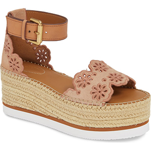 Pink leather platform espadrilles with ankle strap photo