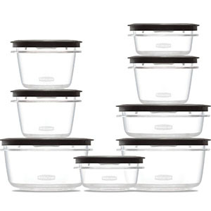 Food storage containers with black lids photo