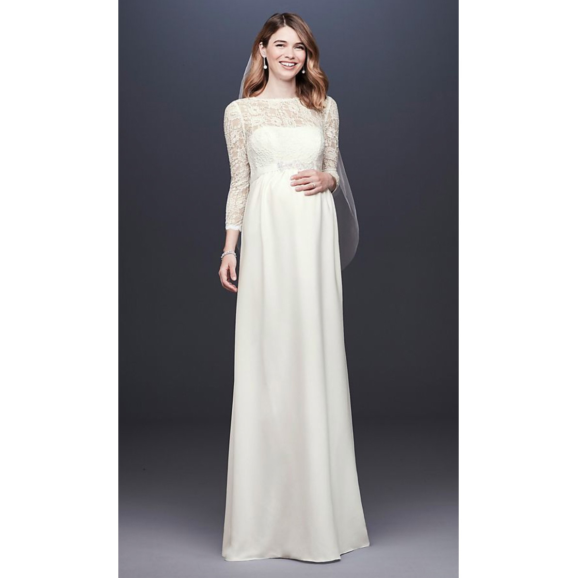 Model in David's Bridal Collection 3/4 Sleeve Crepe Sheath Maternity Wedding Dress photo
