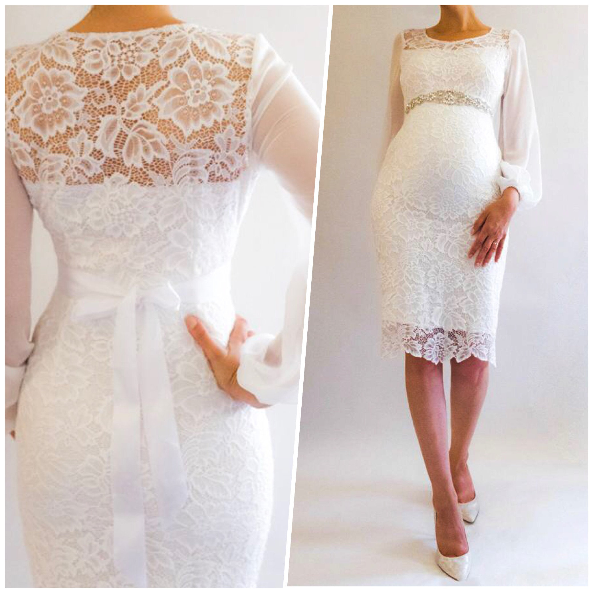 Model posing in Aimie Short Lace Maternity Wedding Dress from Etsy photo