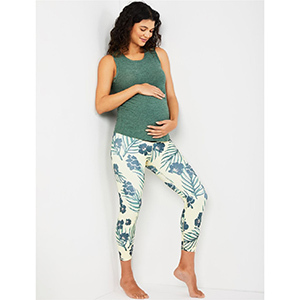 A Pea in the Pod Beyond the Bump Fold Over Floral Cropped Maternity Leggings photo