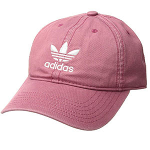 Pink hat with original adidas logo on the front. photo